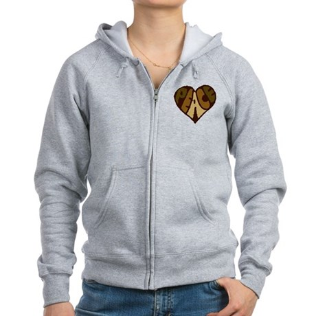 Earthtone Peace Heart Women's Zip Hoodie