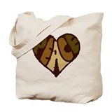 Earthtone Peace Heart Tote Bag