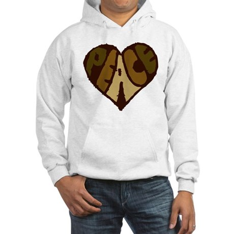 Earthtone Peace Heart Hooded Sweatshirt