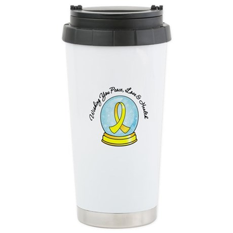 Bladder Cancer Snowglobe Ceramic Travel Mug