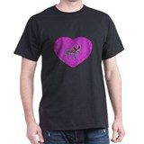Pink Moose Heart Black T-Shirt