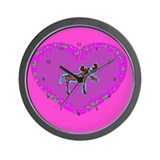 Pink Moose Heart Wall Clock
