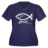 &quot;Ghoti&quot; Women's Plus Size V-Neck Dark T-Shirt