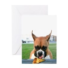 Pizza Eating Boxer Greeting Card