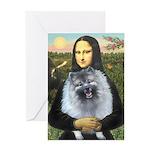 Mona Lisa / Keeshond (F) Greeting Card