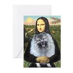Mona Lisa / Keeshond (F) Greeting Cards (Pk of 10)