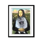 Mona Lisa / Keeshond (F) Framed Panel Print