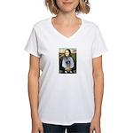 Mona Lisa / Keeshond (F) Women's V-Neck T-Shirt