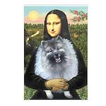 Mona Lisa / Keeshond (F) Postcards (Package of 8)