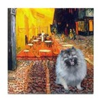 Cafe / Keeshond (F) Tile Coaster