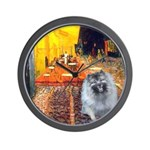 Cafe / Keeshond (F) Wall Clock