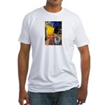 Cafe / Keeshond (F) Fitted T-Shirt