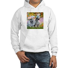 Garden / Two Keeshonds Hooded Sweatshirt