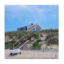 Cape Cod Beach House Tile Coaster