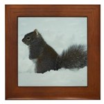 Snowy Squirrel 2 Framed Tile