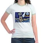 SILKY Terrier art items Jr. Ringer T-Shirt