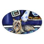 SILKY Terrier art items Oval Sticker