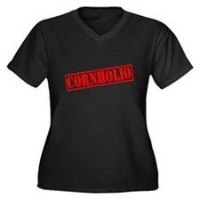 Cornholio Women's Plus Size V-Neck Dark T-Shirt