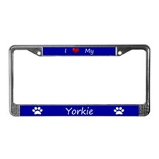 Blue I Love My Yorkie License Plate Frame