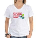 MARTIAN COFFEE DOOM! - Women's V-Neck T-Shirt