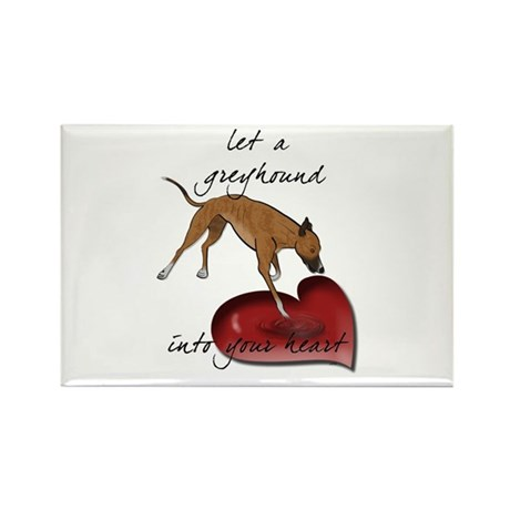 Greyhound Heart Rectangle Magnet