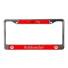 Red I Love My Rottweiler License Plate Frame