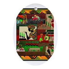Cool Kwanzaa african american Oval Ornament