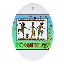 Cute African christmas Oval Ornament