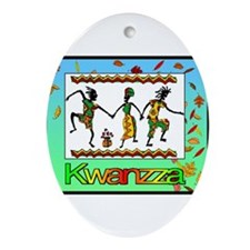 Cute Kwanzaa african american Oval Ornament