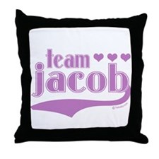 Team Jacob Purple Hearts Throw Pillow
