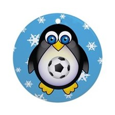 Sports Penguin Soccer Ornament (Round)