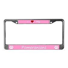 Pink I Love My Pomeranians License Plate Frame