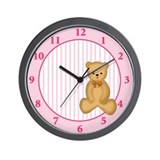 Pink Teddy Bear Girl Wall Clock