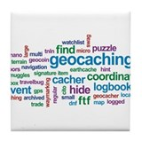 Geocaching Word Cloud Tile Coaster