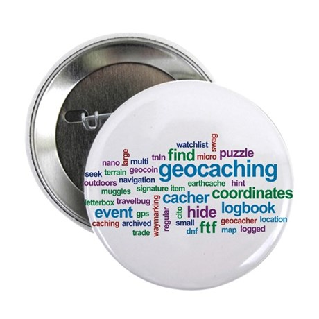 "Geocaching Word Cloud 2.25"" Button (10 pack)"