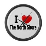 I Love The North Shore Large Wall Clock