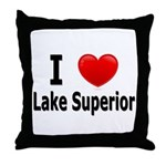 I Love Lake Superior Throw Pillow