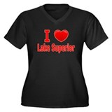 I Love Lake Superior Women's Plus Size V-Neck Dark