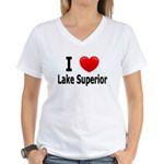 I Love Lake Superior Women's V-Neck T-Shirt