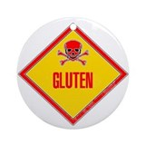 Gluten Poison Warning Ornament (Round)