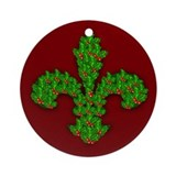 Fleur de Lis Made of Holly Sprigs Ornament