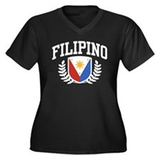 Filipino Women's Plus Size V-Neck Dark T-Shirt