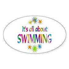 Swimming Oval Stickers