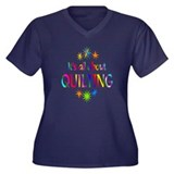 Quilting Women's Plus Size V-Neck Dark T-Shirt