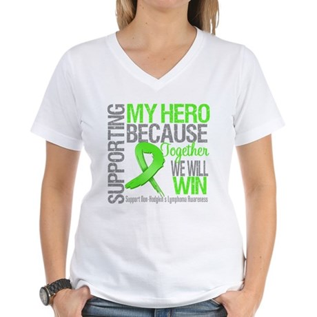 Hero NonHodgkinsLymphoma Women's V-Neck T-Shirt