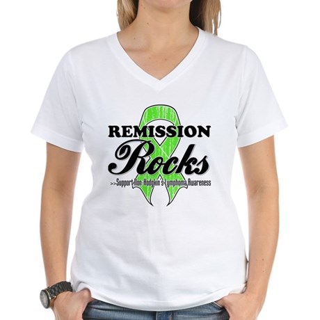 NonHodgkins RemissionRocks Women's V-Neck T-Shirt