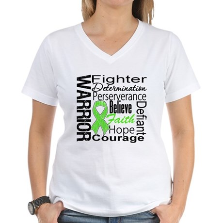 Non-Hodgkins Warrior Women's V-Neck T-Shirt