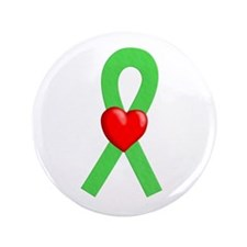 "Lime Ribbon Heart 3.5"" Button (100 pack)"