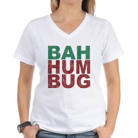 Bah Humbug Womens V-Neck T-Shirt