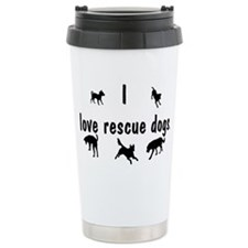 I Love Rescue Dogs Ceramic Travel Mug